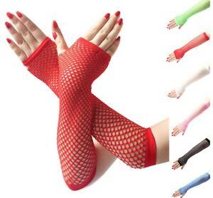 Women sexy high elastic fishing net half finger long gloves Party Gloves