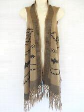 Aztec Knit Vest Sleeveless Wrap Cape Shawl Scarve Acrylic One Size Brown Black