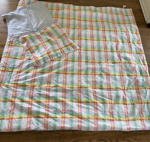 TOMMY HILFIGER Cotton Pink Yellow Plaid Blue White Comforter Set FULL/QUEEN