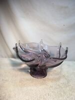 Blown Glass Purple Compote Table Center piece Hand Crafted ?