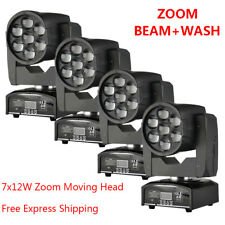 4pcs 7x12W Zoom Wash Beam LED Light for DJ Stage Disco Concert Club Wedding Show