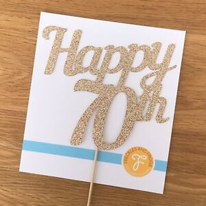 Happy 70th Cake Topper ROSE GOLD Glitter Card Birthday Cake Decoration 70