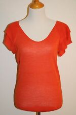 NWT Ann Taylor Coral Pink Knit Top in Womens size S 4 6 Short Flutter Sleeve