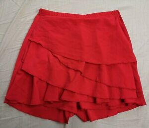 Boohoo Women's Red Ruffle Tiered Skort Size UK 8 Good Used Condition