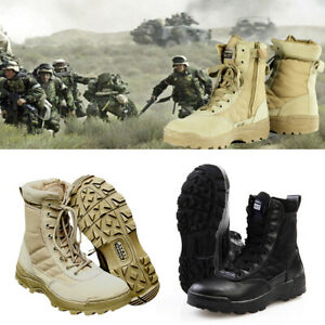 Mens Army Tactical Leather Combat Military Ankle Boots Work Desert Shoes