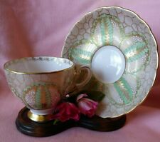 Vintage Tuscan Pink Green & Gold Designed Footed Bone China Tea Cup & Saucer Set