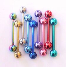 14g Coloured Straight Bar Industrial Ear Nipple Barbell Piercing Jewellery 16mm