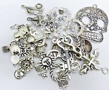 50 Antique Silver Mixed Charms Random Selection Jewellery Making Crafts Beads
