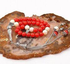 Coral & Pearl Stone Islamic Prayer 33 beads Tasbih, Misbaha, Tasbeeh, Rosary 7mm
