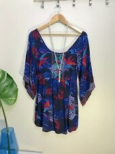 Roxy Quiksilver Boho Embroidered mini Dress XS 8 Floral Tropical Navy