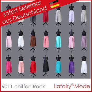 Chiffon Lang Rock Strandrock Maxirock mit elastischem Band und kurzen Unterrock