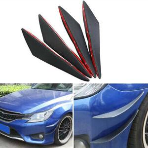 4Pc Car Carbon Fiber Front Bumper Lip Splitter Diffuser Spoiler Fin Canards Wing