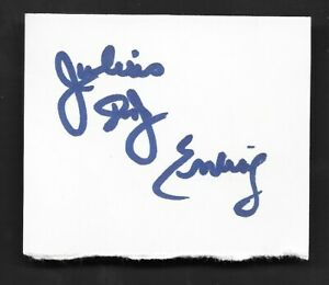 Julius Dr. J Erving Full Name Autograph Auto Signed Cut Index Card JSA Certified
