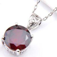 Woman Round Cut Fire Red Garnet Gemstone Platinum Plated Necklace Pendants New