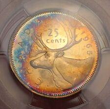 Toned Silver 1965 Canada 25 Cents Quarter | PCGS PL66