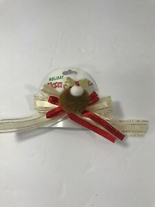 Christmas Hair Bow Clips Barrette Holiday Hair Festival Reindeer Gold Red