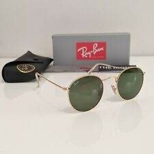 RayBan Round 50mm Metal Sunglasses - Gold Green Classic G-15 Lens RB3447 50-21