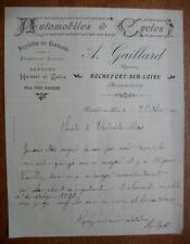 FACTURE Ancienne 1910 A. GAILLARD  AUTOMOBILES et CYCLES ROCHEFORT/LOIRE