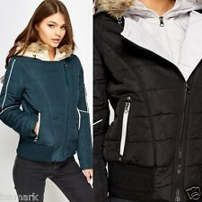 819 Double Zipped Padded Winter Hooded Short Jacket Black Teal Size S M L XL