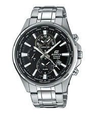 Casio Edifice Men's Quartz Watch With Black Analogue Display and Silver Steel