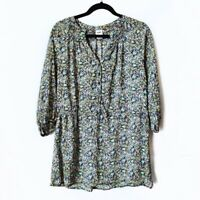 Mossimo Target Blue Floral Peasant Sheer Blouse Top Womens Size Large