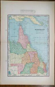 "1900 QUEENSLAND Vintage Map 14""x22"" ~ Old Antique BRISBANE CAIRNS TOWNSVILLE"