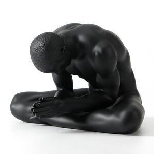 "5"" Modern Art Sculpture handmade black resin Nude Hands together man body statue"