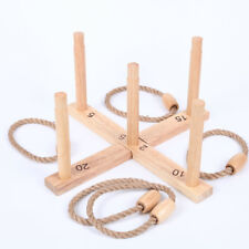 Wooden Rope Quoits Ring Toss Game Traditional Outdoor Activity Sport  Gift
