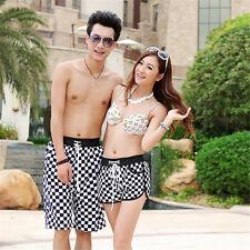 Summer Men Women Lovers Plain Grids Beach Shorts Short Pants Board Surf Shorts