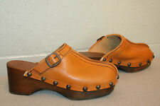 6 NOS Vtg 70s PLATFORM CLOG BELTED BUCKLE HIPPIE BOHO STUDDED LEATHER WOOD  Shoe