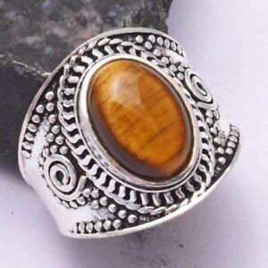 Tiger Eye Ethnic Handmade Ring Jewelry US Size-9 AR 42444