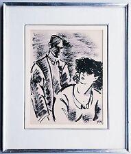 Frans MASEREEL 1889-1972: Mondänes Paar Tuschezeichnung 1920er Jahre, selten!