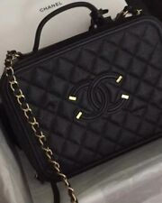 bbd1a73a7550 BNIB Chanel Filigree Vanity Case Large Black gold HW