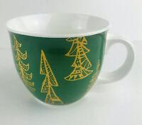 Starbucks  Green Holiday Mug With Gold Christmas Trees 14oz. Oversized Mug