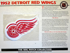 1952 DETROIT RED WINGS Willabee & Ward NHL THROWBACK HOCKEY TEAM PATCH Stat Card