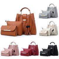 3Pcs/Set Women Leather Handbag Purse Messenger Shoulder Bag Tote Wallet Clutch