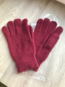 Handschuhe / Fingerhandschuhe (Wolle + Alpaka) - Größe M (8-9) Bordeaux ::: Neu