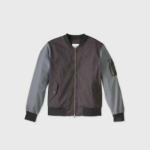 Men's Colorblock Bomber Jacket - Goodfellow  Co Gray L