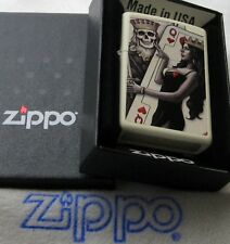 ZIPPO  SKULL KING QUEEN BEAUTY Lighter PLAYING CARD MINT In BOX New 29393