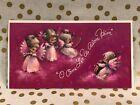 Vintage Hallmark Christmas Card Pink with Darling Angels Unused + Envelope