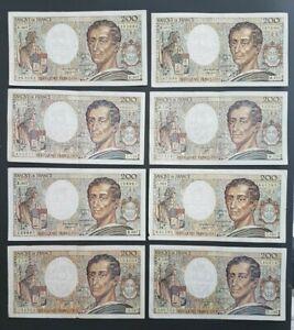 FRANCE - FRANCIA - FRENCH NOTES - LOT DE 8 BILLETS DE 200F MONTESQUIEU - L5.