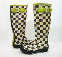 FAST SHIP! RARE NEW SZ 6 HUNTER MACKENZIE CHILDS COURTLY CHECK RAIN BOOTS