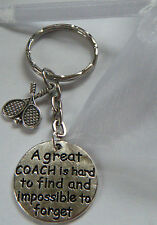 TENNIS COACH COACHING KEYRING GREAT COACH GIFT THANK YOU PRESENT TEACHER IN BAG