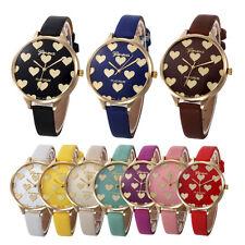 Women Lady Casual Love Faux Leather Band Quartz Analog Gold Dress Wrist Watch UK