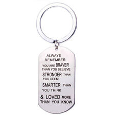 Portachiavi portachiave motivazionale acciaio inox braver stronger smarter loved