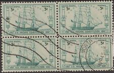 (ZB-200) 1947 USA 3c 150th anni launching US Frigate Constition 4block used