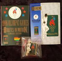ATLANTA 1996 OLYMPIC FENCING PIN + ORIGINAL CARD + ORIGINAL PAHMPLET