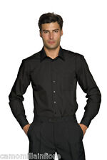 Camicia Uomo Aderente Slim Fit Sciancrata Stretch Nera XL 43 LEGGERA