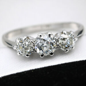 Art Deco 18ct White Gold and Platinum 1.28ct Old Cut Diamond Trilogy Ring