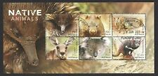 AUSTRALIA 2015 NATIVE ANIMALS SOUVENIR SHEET OF 6 STAMPS IN FINE USED CONDITION